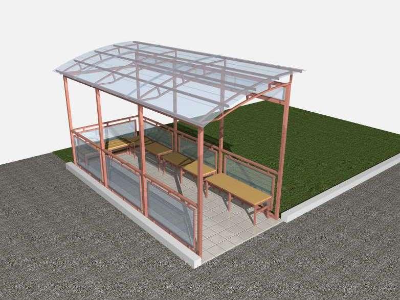 Простая крыша для беседки из полимера