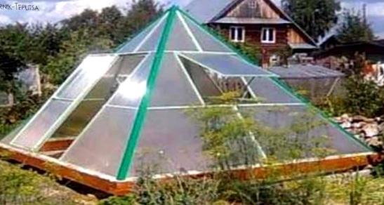 Полимерная теплица с основанием в форме квадрата