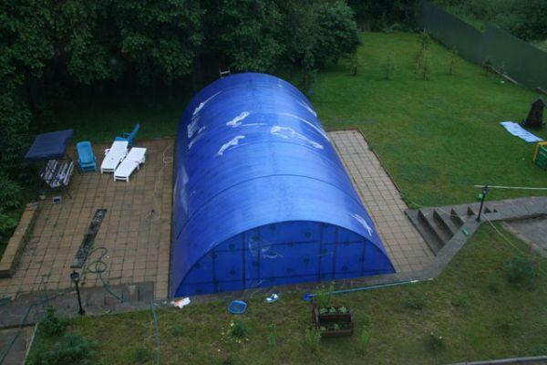 Полимерный навес над бассейном