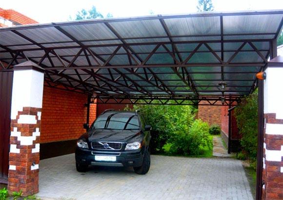 Открытый поликарбонатный гараж