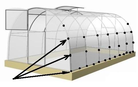 Схема крепления саморезов на каркас теплицы