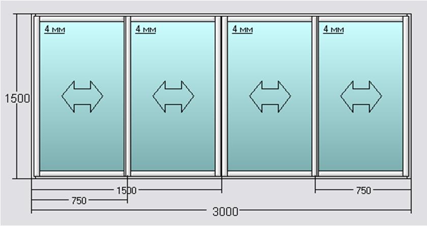 Стандартные размеры алюминиевых раздвижных окон для балкона..