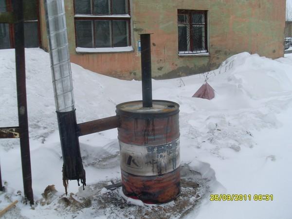 Наружная печь для отопления теплицы
