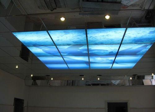 Полимерный потолок с лампами