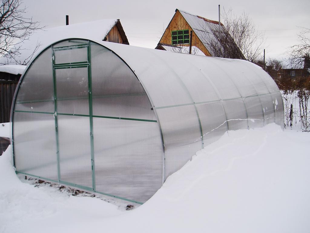 Полимерная теплица зимой