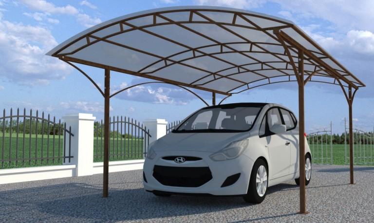 Автомобиль под поликарбонатным навесом